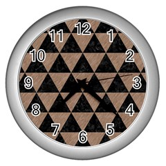 Triangle3 Black Marble & Brown Colored Pencil Wall Clock (silver) by trendistuff