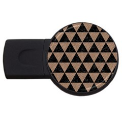 Triangle3 Black Marble & Brown Colored Pencil Usb Flash Drive Round (2 Gb) by trendistuff