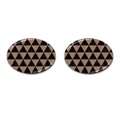 Triangle3 Black Marble & Brown Colored Pencil Cufflinks (oval) by trendistuff