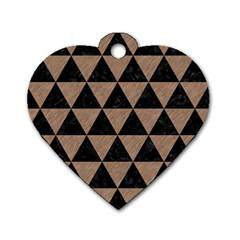 Triangle3 Black Marble & Brown Colored Pencil Dog Tag Heart (two Sides) by trendistuff