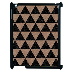 Triangle3 Black Marble & Brown Colored Pencil Apple Ipad 2 Case (black) by trendistuff