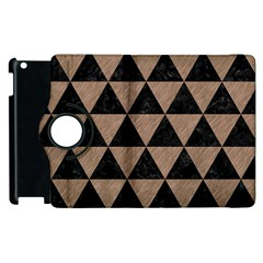 Triangle3 Black Marble & Brown Colored Pencil Apple Ipad 2 Flip 360 Case by trendistuff