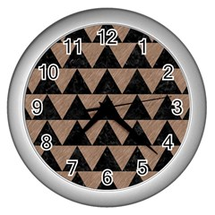 Triangle2 Black Marble & Brown Colored Pencil Wall Clock (silver) by trendistuff
