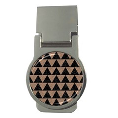 Triangle2 Black Marble & Brown Colored Pencil Money Clip (round) by trendistuff