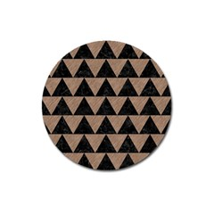 Triangle2 Black Marble & Brown Colored Pencil Magnet 3  (round) by trendistuff