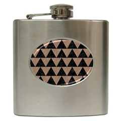 Triangle2 Black Marble & Brown Colored Pencil Hip Flask (6 Oz) by trendistuff