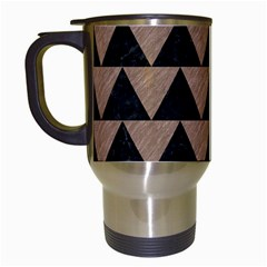 Triangle2 Black Marble & Brown Colored Pencil Travel Mug (white) by trendistuff