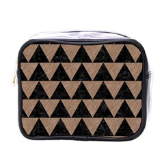 Triangle2 Black Marble & Brown Colored Pencil Mini Toiletries Bag (one Side) by trendistuff