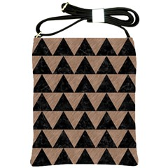 Triangle2 Black Marble & Brown Colored Pencil Shoulder Sling Bag by trendistuff