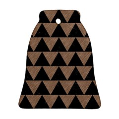 Triangle2 Black Marble & Brown Colored Pencil Bell Ornament (two Sides) by trendistuff