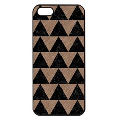 Triangle2 Black Marble & Brown Colored Pencil Apple Iphone 5 Seamless Case (black) by trendistuff