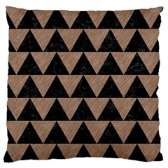 Triangle2 Black Marble & Brown Colored Pencil Large Flano Cushion Case (one Side) by trendistuff
