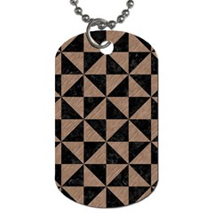 Triangle1 Black Marble & Brown Colored Pencil Dog Tag (one Side) by trendistuff