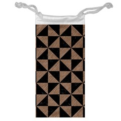Triangle1 Black Marble & Brown Colored Pencil Jewelry Bag by trendistuff