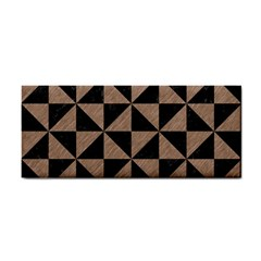 Triangle1 Black Marble & Brown Colored Pencil Hand Towel by trendistuff