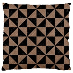 Triangle1 Black Marble & Brown Colored Pencil Large Cushion Case (two Sides) by trendistuff