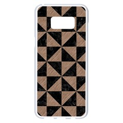 Triangle1 Black Marble & Brown Colored Pencil Samsung Galaxy S8 Plus White Seamless Case by trendistuff
