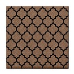 TILE1 BLACK MARBLE & BROWN COLORED PENCIL (R) Face Towel Front