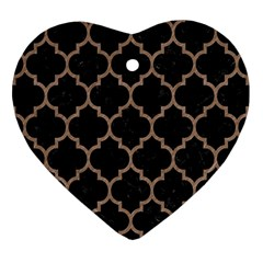 Tile1 Black Marble & Brown Colored Pencil Heart Ornament (two Sides) by trendistuff
