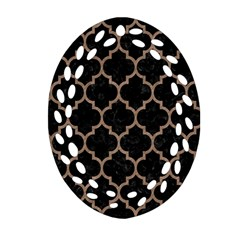 Tile1 Black Marble & Brown Colored Pencil Ornament (oval Filigree) by trendistuff