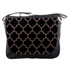 Tile1 Black Marble & Brown Colored Pencil Messenger Bag by trendistuff