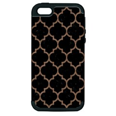 Tile1 Black Marble & Brown Colored Pencil Apple Iphone 5 Hardshell Case (pc+silicone)