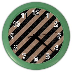 Stripes3 Black Marble & Brown Colored Pencil Color Wall Clock by trendistuff