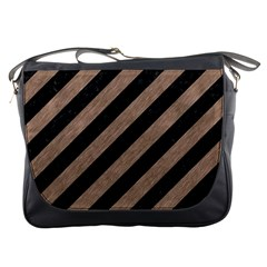 Stripes3 Black Marble & Brown Colored Pencil Messenger Bag by trendistuff