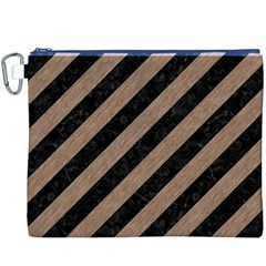 Stripes3 Black Marble & Brown Colored Pencil Canvas Cosmetic Bag (xxxl) by trendistuff