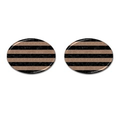 Stripes2 Black Marble & Brown Colored Pencil Cufflinks (oval) by trendistuff