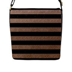 Stripes2 Black Marble & Brown Colored Pencil Flap Closure Messenger Bag (l) by trendistuff