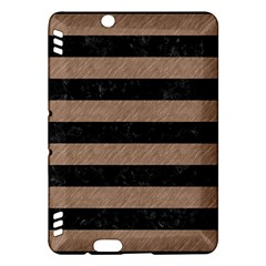 Stripes2 Black Marble & Brown Colored Pencil Kindle Fire Hdx Hardshell Case by trendistuff