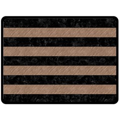Stripes2 Black Marble & Brown Colored Pencil Double Sided Fleece Blanket (large) by trendistuff