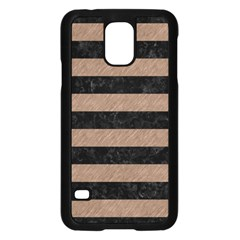 Stripes2 Black Marble & Brown Colored Pencil Samsung Galaxy S5 Case (black) by trendistuff