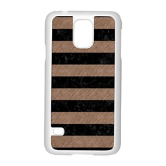 Stripes2 Black Marble & Brown Colored Pencil Samsung Galaxy S5 Case (white) by trendistuff