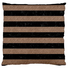 Stripes2 Black Marble & Brown Colored Pencil Standard Flano Cushion Case (one Side) by trendistuff
