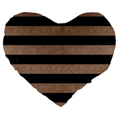 Stripes2 Black Marble & Brown Colored Pencil Large 19  Premium Flano Heart Shape Cushion by trendistuff