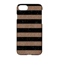 Stripes2 Black Marble & Brown Colored Pencil Apple Iphone 7 Hardshell Case by trendistuff