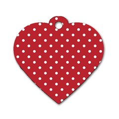Red Polka Dots Dog Tag Heart (one Side) by LokisStuffnMore