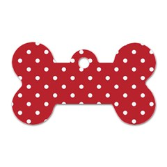 Red Polka Dots Dog Tag Bone (two Sides) by LokisStuffnMore