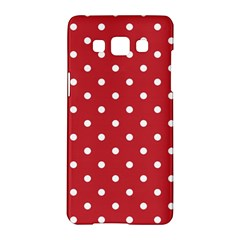 Red Polka Dots Samsung Galaxy A5 Hardshell Case  by LokisStuffnMore