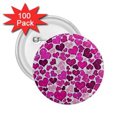 Sparkling Hearts Pink 2 25  Buttons (100 Pack)  by MoreColorsinLife