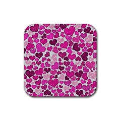 Sparkling Hearts Pink Rubber Square Coaster (4 Pack)  by MoreColorsinLife