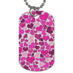 Sparkling Hearts Pink Dog Tag (two Sides) by MoreColorsinLife