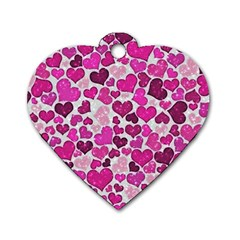Sparkling Hearts Pink Dog Tag Heart (one Side)