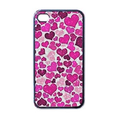 Sparkling Hearts Pink Apple Iphone 4 Case (black) by MoreColorsinLife