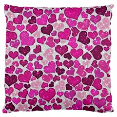 Sparkling Hearts Pink Large Cushion Case (one Side) by MoreColorsinLife