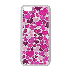 Sparkling Hearts Pink Apple Iphone 5c Seamless Case (white) by MoreColorsinLife