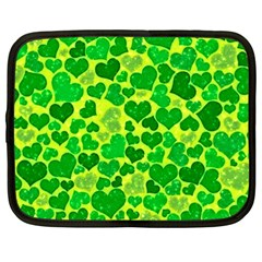 Sparkling Hearts, Green Netbook Case (large) by MoreColorsinLife