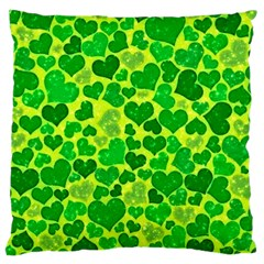 Sparkling Hearts, Green Large Cushion Case (one Side) by MoreColorsinLife